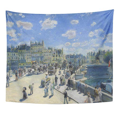 Semtomn Tapestry Artwork Wall Hanging Paris Auguste Renoir Pont Neuf Painting Impressionism Impressionist Artistic 50x60 Inches Tapestries Mattress Tablecloth Curtain Home Decor Print