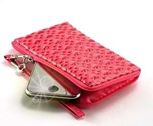 """""""Amor"""" Rosado Oscuro, Lujosa billetera-sostenedor acolchado con cierre, acabado brillante para Philips M600. Funda / Estuche en relieve único con correa para teléfonos móviles."""