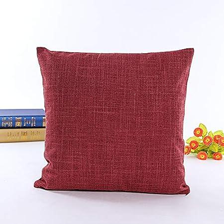 ZHUOYI Housse de Coussin en Lin de Coton carr/é d/écoratif d/écoratif pour Couvrir la Housse de Coussin pour la Maison canap/é Voiture literie Chambre 45 x 45cm Ensemble de 2 Vin Rouge
