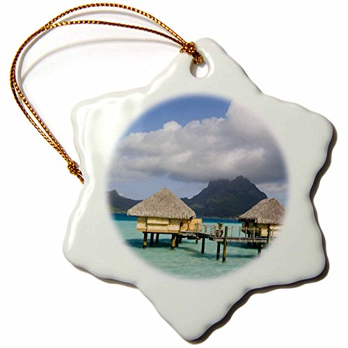 3dRose orn_85146_1 Pearl Beach Resort, Bora-Bora, French Polynesia-Oc13 Spi0022-Sergio Pitamitz-Snowflake Ornament, 3-Inch, Porcelain ()