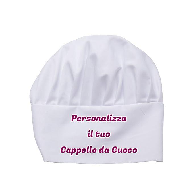 CAPPELLO DA CUOCO PERSONALIZZATO CON TESTO E IMMAGINI  Amazon.it   Abbigliamento 1d840c239ed3