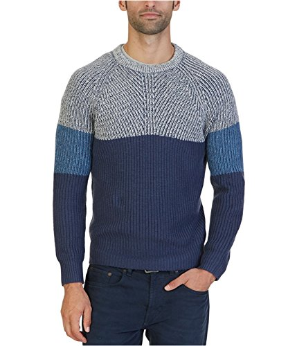 Nautica Ribbed Sweater (Nautica Men's Color Blocked Sweater, Mood Indigo, M)