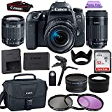 Canon EOS 77D 24.2 MP Digital SLR Camera with 18-55mm and 55-250mm Lenses and Accessory Bundle