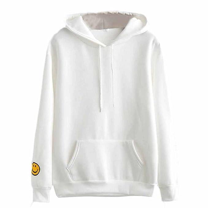 Logobeing Mujer Sonriente Cara Sudadera Con Capucha Blusa De Bolsillo Jersey Tops (S, Blanco