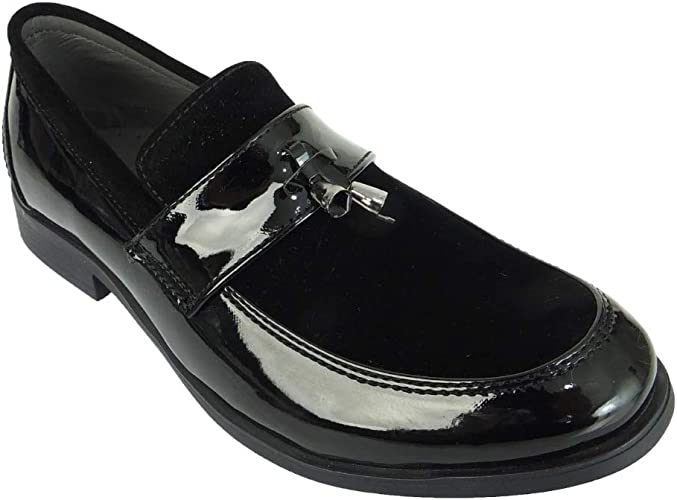 Romano Boys Slip On Loafers with Embroidered bees Black Velvet Shoes