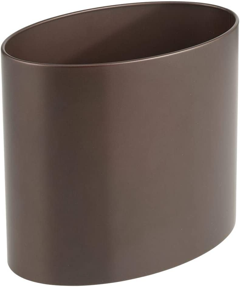 mDesign Oval Metal Decorative Small Trash Can Wastebasket, Garbage Container Bin for Bathrooms, Kitchens, Home Offices, Dorm Rooms - Bronze