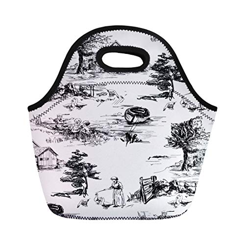- Semtomn Lunch Tote Bag Classic Pattern Old Town Village Scenes Countryside Life Reusable Neoprene Insulated Thermal Outdoor Picnic Lunchbox for Men Women