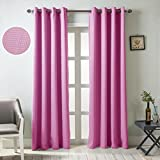 GYROHOME Solid Color Thermal Insulated Blackout Curtains Metal Grommet Curtain Panels Room Darkening Window Drapes for Bedroom/Living Room Sold In Pair