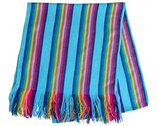 Mexican Table Runner - Bohemian Table Runner - Boho Rainbow Aztec Runners - Serape Colourful Striped Cotton Runner for Mexican Fiesta Decorations and for Wedding Décor Turquoise Green Yellow Stripes