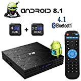 Android TV Box,T9 Android Box 8.1 with 4GB RAM 32GB ROM Quad-Core Cortex-A53