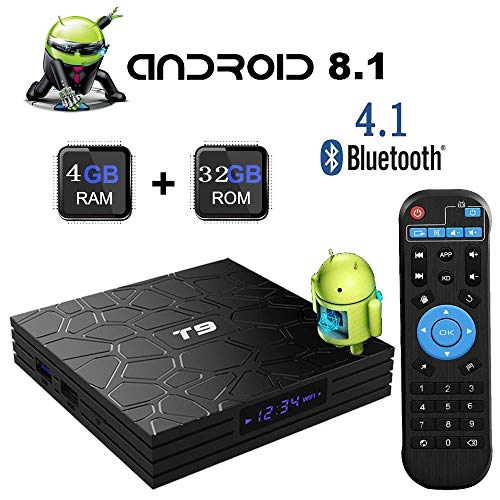 Android TV Box,T9 Android Box 8 1 with 4GB RAM 32GB ROM Quad-Core  Cortex-A53 RK3328 Processor 2 4GHz WiFi Supports 4k/Ultra H 265/BT4 1 Smart  Set Top