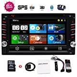 EinCar 2 Din Car GPS Navigation 6.2'' Capacitive Touch Screen in-Dash Car Stereo DVD CD Bluetooth GPS Radio Entertainment support USB SD AUX 1080P in with 8G Navi Card + Rear View Camera