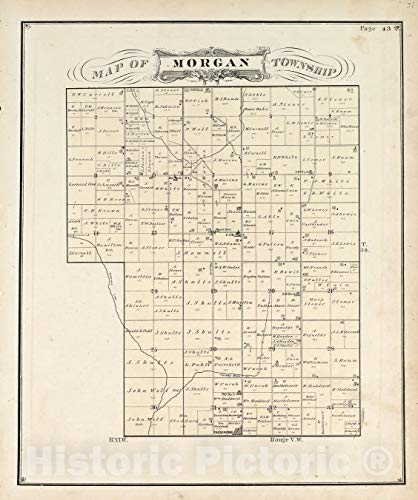 Historic 1876 Map | Illustrated Historical Atlas of Porter County, Indiana. | View | Hardesty's Atlas of Porter Co, Indiana 1 44in x 53in