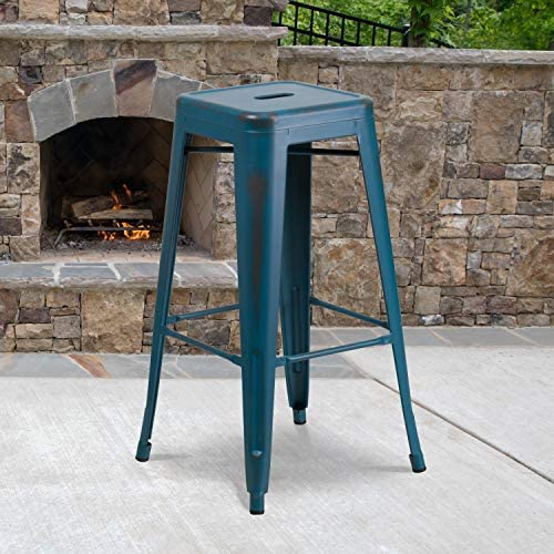 Best outdoor bar stool: Flash Furniture Commercial Grade 4 Pack 30″ High Backless Distressed Antique Blue Metal Indoor-Outdoor Barstool