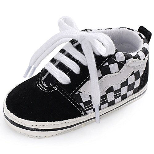 Fire Frog FireFrog Baby Boys Sneakers Lace up Classic British Prewalker Crib Shoes - Classic Plaid Sneakers