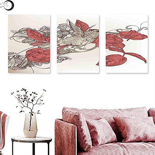 Unpremoon Hummingbirds Decorations Queen Size Wall Art Oil Paintings Hummingbird on Rose Flower Branch Ornamental Vintage Style Illustration Triptych Wall Art Triptych Art Canvas W 16