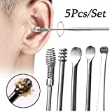 5 Pcs Ear Pick, Ear Cleansing Tool Set, Ear Curette Earwax Removal Kit with a Storage Box and Small Cleaning Brush