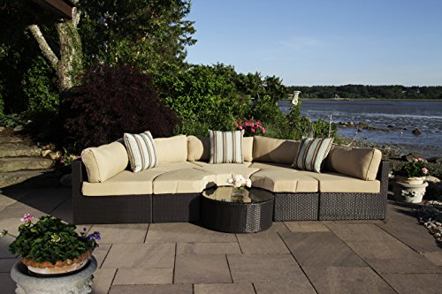 Madbury Road Santorini 9 Piece Outdoor Sectional/Daybed Set - 9 Piece set Includes a five piece circular outdoor sectional, three ottmans, coffee table and cushions (throw pillows not included) Modular style round sectional couch forms a half circle and can easily be transformed into a daybed by turning the ottomans around All-weather wicker material is resistant to the elements and resists mildew and fading - patio-furniture, patio, conversation-sets - 51x1N71lWlL -