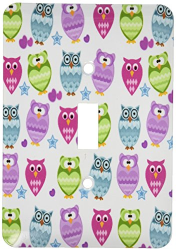 3dRose lsp_201642_1 Funky Owls Single Toggle Switch