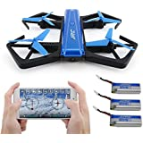 Dreamyth JJRC H43WH Blue Crea 720P WIFI Camera Foldable With Altitude Hold RC Quadcopter,Inside the fuselage With A Battery (Blue(With Extra 2 Battery))