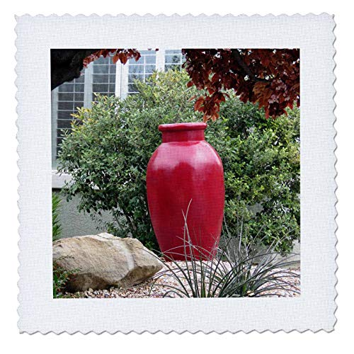 3dRose Jos Fauxtographee- Red Vase - A big red vase in a yard planter with green bush behind and tree - 22x22 inch quilt square (qs_317897_9)