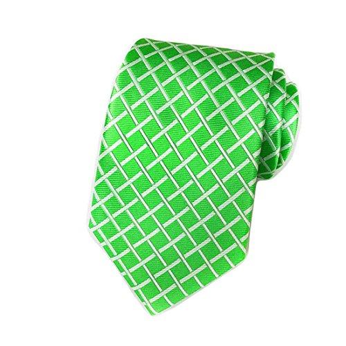 MINDENG Tartan Wool Tie Green Check Business Men's Silk Neckties Leisure Ties Green Necktie