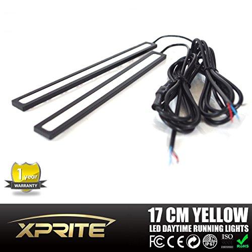 [해외]Xprite 1 쌍 (2 PCS) 호박색 황색 이중 기능 17CM 회전 신호 빛 방수 고강도 까만 알루미늄 고성능 6W 크세논 호리 호리한 COB LED D/Xprite One pair (2 PCS) Amber Yel