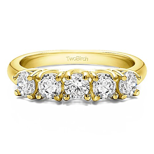 18k Yellow Gold Diamond 0.5 CT Five Stone Trellis Set Wedding Ring (Size 3 To 15 in 1/4 Size Interval)