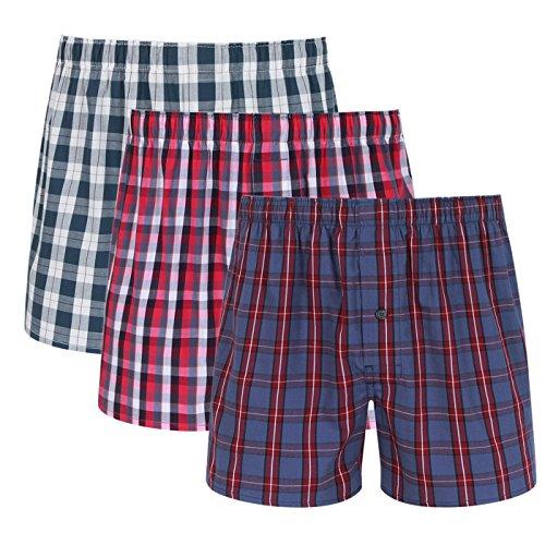 Feoya Herren Boxershorts unterhosen Männer 3er Pack American Style Webboxer Baumwolle Unterwäsche Kariert Boxer