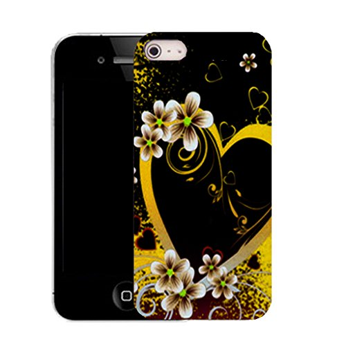 Mobile Case Mate IPhone 4s clip on Silicone Coque couverture case cover Pare-chocs + STYLET - comely heart pattern (SILICON)