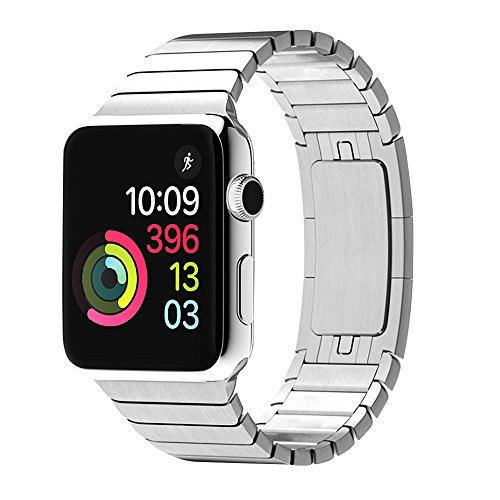 ZENQAI Wrist Band for 42mm Apple Watch - Stainless Steel Metal Replacement Bands with Double Button Folding Clasp (Silver)