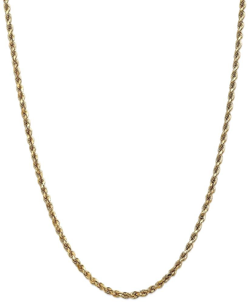 ICE CARATS 14k Yellow Gold 3.5mm Link Rope Lobster Clasp Chain Necklace 30 Inch Handmade Fine Jewelry Gift Set For Women Heart