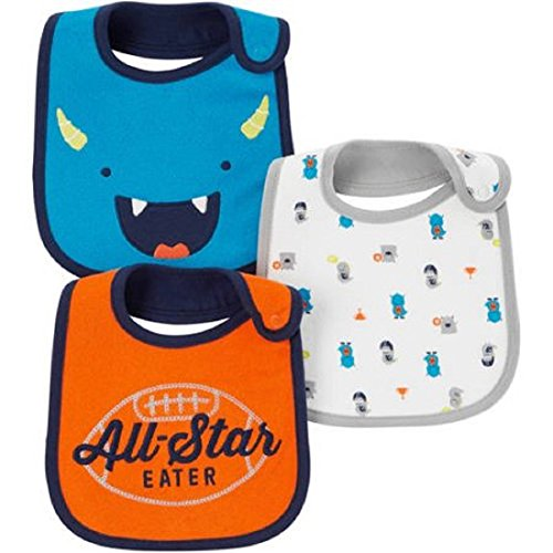 Carter's Child Of Mine Baby Boys' 3 Pack Bibs (Orange- All Star)
