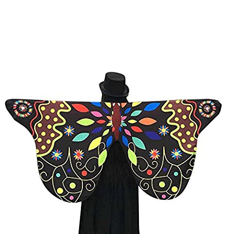 Luweki Soft Fabric Butterfly Peacock Wings Shawl Fairy Ladies Nymph Pixie Costume Accessory (Black 8, (The Pixies Deluxe)