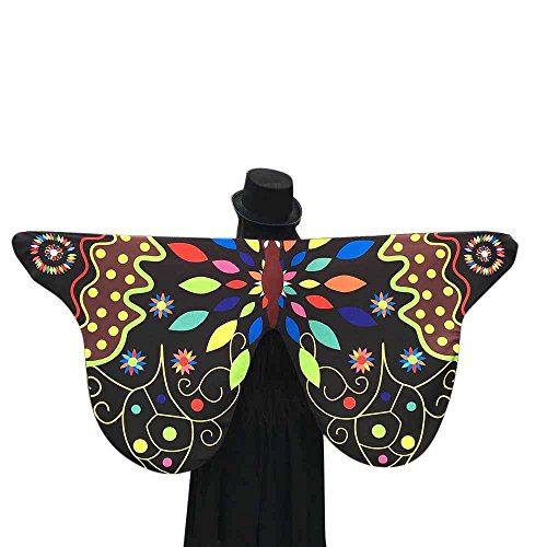[Luweki Soft Fabric Butterfly Peacock Wings Shawl Fairy Ladies Nymph Pixie Costume Accessory (Black 8,] (Pixies Costumes)