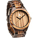 Treehut Men's Zebrawood and Ebony Wooden Watch with All Wood Strap Quartz Ana...