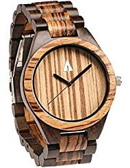 Treehut Mens Zebrawood and Ebony Wooden Watch with All Wood Strap Quartz Ana...