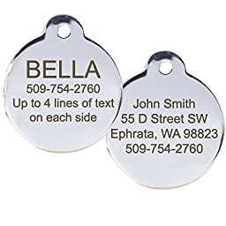 Stainless Steel Pet Id Tags, Personalized Dog Tags & Cat Tags. Up to 8 Lines of Text - Engraved Front & Back. Bone, Round, Heart, Flower, Shield, House, Star, Rectangle, & Bow Tie.