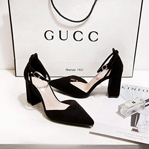 scarpe di donna tacco black profonda Punta calzature ZHZNVX nuova alto scarpe bocca in poco raso scanalata alta tacco ruvida singolo con punta sandali RS7B5nxq6