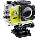 1080P Action Sports Camera -Self Timer,Tuscom Waterproof ( 30 Meters Under Water) Action Camera (2.0 Inch Ultra HD Screen)Camcorder HD 1080P Mini DV Cam+ Parts for Gopro (Yellow#)