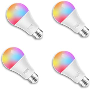 Smart LED Bulb WiFi Multicolor Light Bulb Compatible with Alexa, Echo, Google Home and IFTTT, No Hub Required, E26 A19 60W Equivalent RGBW Color Changing, White 2700K 9.5W UL Listed, 4pack