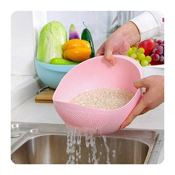 PRAMUKH FASHION ABS Plastic 11 Inch Multi Color Rice Bowl Rice Pulses Fruits Vegetable Noodles Pasta Washing Bowl & Strainer Good Quality & Perfect Size for Storing and Straining. Colander Random Colors 3