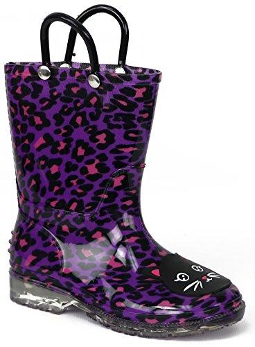 Chatties Little Girls' Fun Print Rain Boot (5-6 M US Toddler, Purple Cheetah Print)