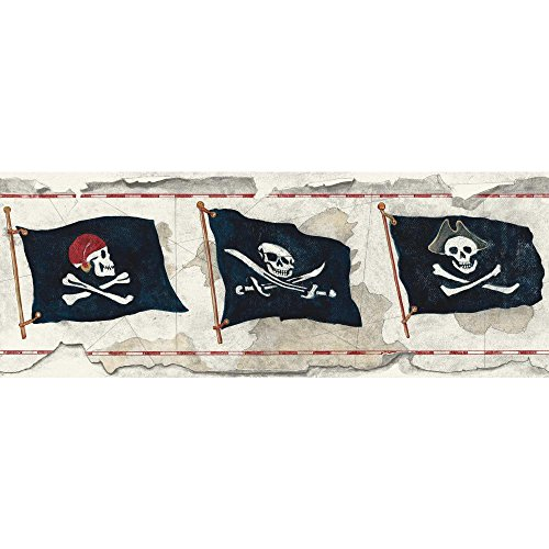 York Wallcoverings Brothers and Sisters V Pirate Flag Border, Grey, Dark Blue, White, Red