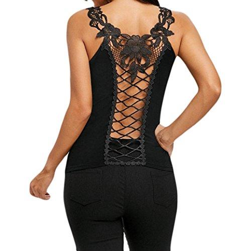 Sameno Women O-Neck Lace Shoulder Straps Back Hollow Out Vest Blouse T-Shirt Tops (L) Black