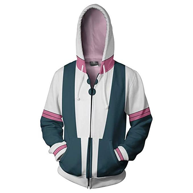 a98b6d2a8 LeeQn Unisex Anime Cosplay 3D Pullover Print Hooded Sweatshirt Hero College  Zipper S