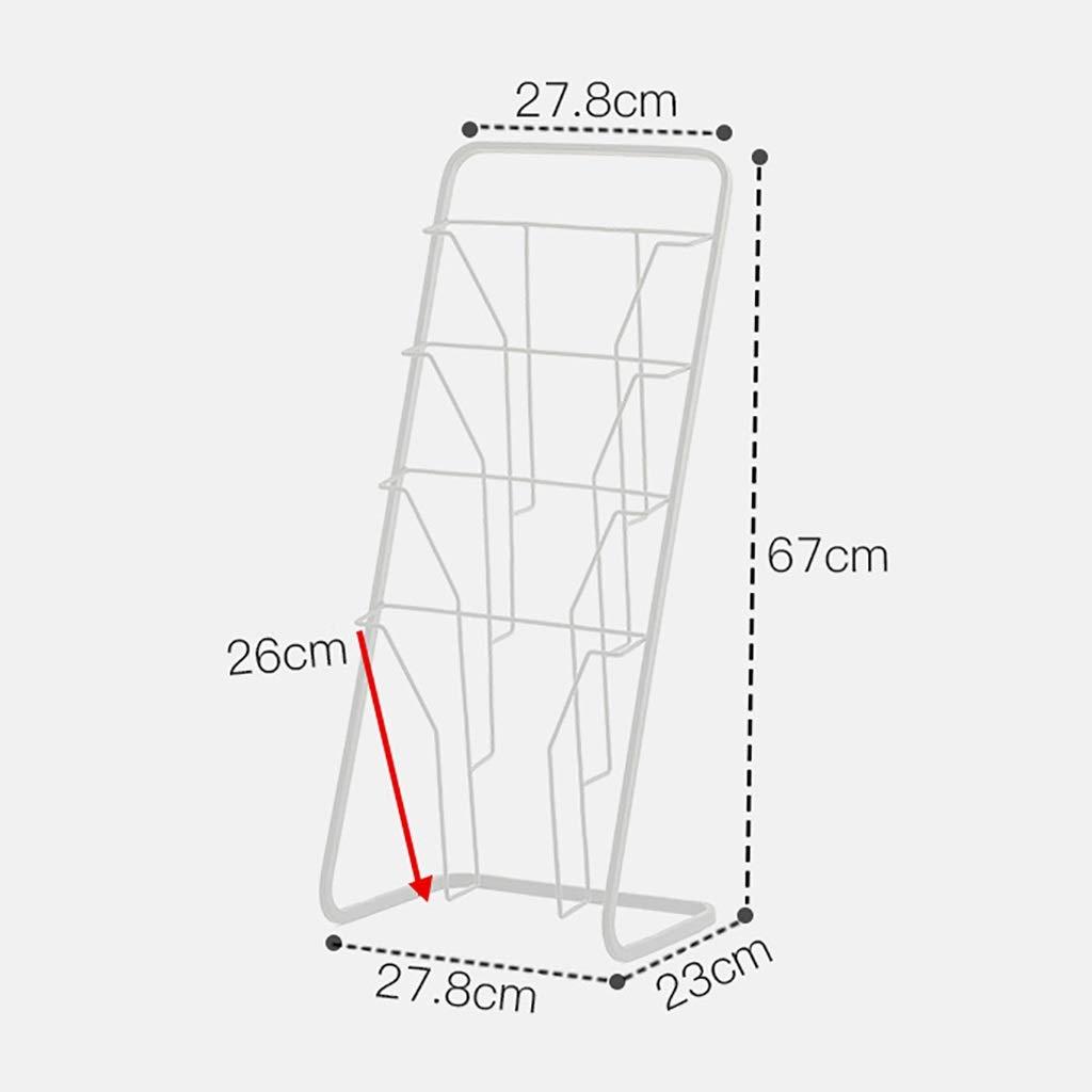 CDラック マガジンラックアイアンアートフローリング北欧本棚子供用絵本スタンドプロモーションディスプレイスタンド新聞ラックL27.8×W23×H67cm (Color : White) B07T3SVT69 White