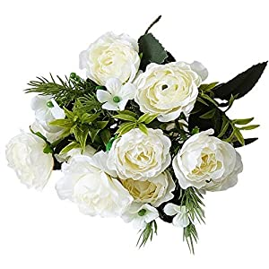 zzJiaCzs Artificial Rose Flower,1Pc Faux Flower Rose Home Garden Party Wedding DIY Photography Props Decor - White 63