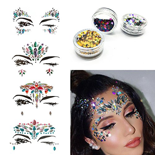 UAYF Rhinestone Mermaid Face Jewels Tattoo 4 Sets Festival Rainbow Tears Temporary Stickers And Free Body Glitter