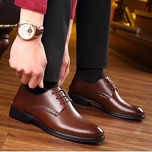 Oxford Dress Derby Party Uniform Shoes Scarpe Scarpe Uomo Con Punta Da Casual Brown Classica Lacci Formal Business A Wedding 6nAawEfq